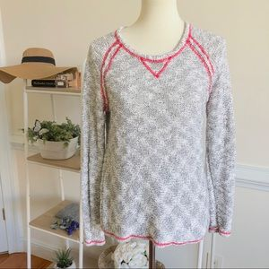Milly heathers grey and pink knit sweater